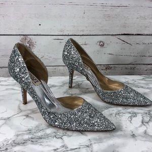 ce6c0e552634 Badgley Mischka Shoes - Badgley Mischka Daisy Glitter Pumps Sz 6